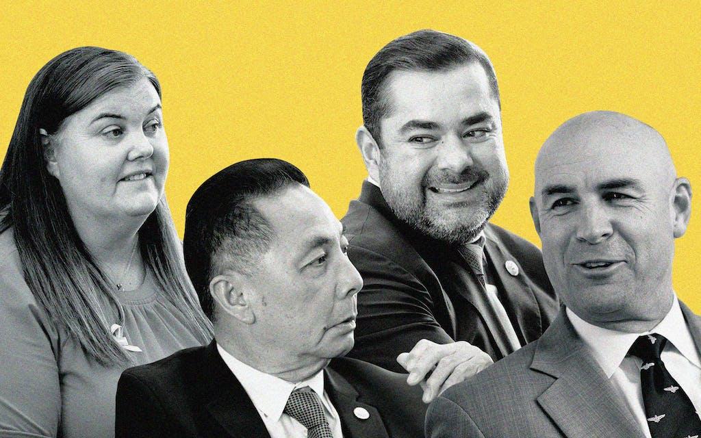 Representative Michelle Beckley (D-Carrollton), Representative Hubert Vo (D-Houston), Representative J.M. Lozano (R-Kingsville), and Representative Jake Ellzey (R-Waxahachie).