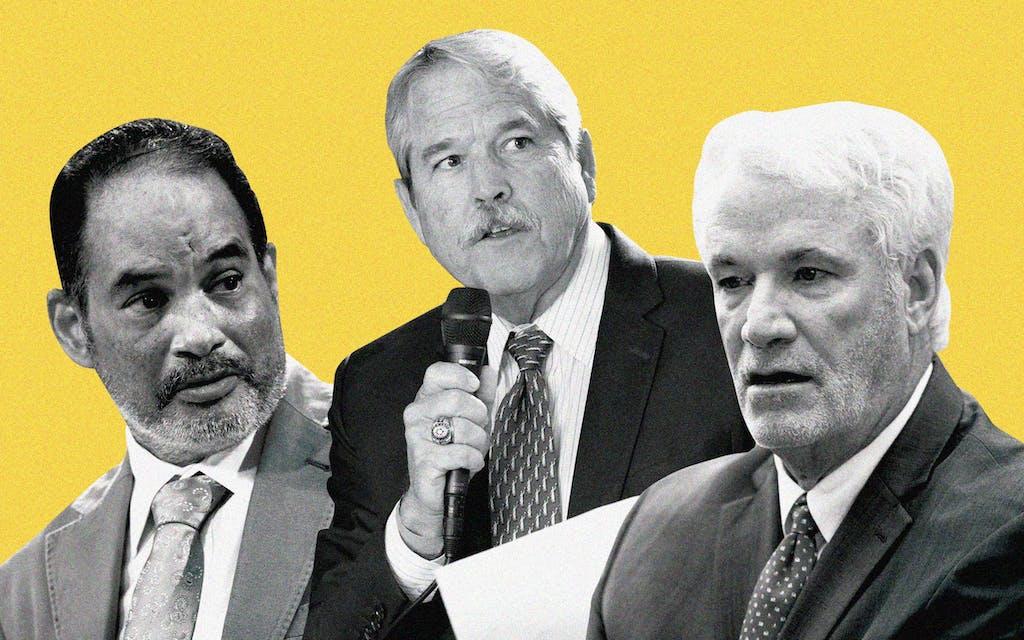 Representative Garnet Coleman (D-Houston), Senator Larry Taylor (R-Friendswood), and Representative Lyle Larson (R-San Antonio).