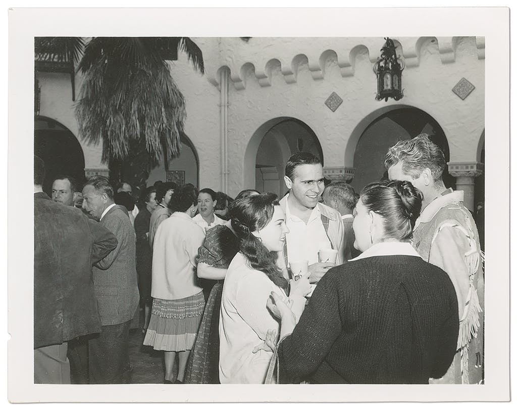 Swartz's parents at a party in the sixties.