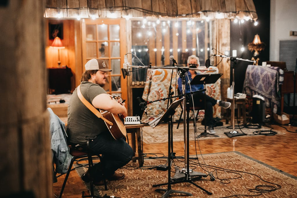 Vincent Neil Emerson with artist and producer Rodney Crowell at the Sound Emporium in September 2020 in Nashville, TN.