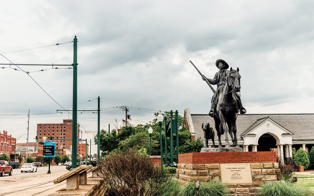The Reeves statue, in Fort Smith, Arkansas.