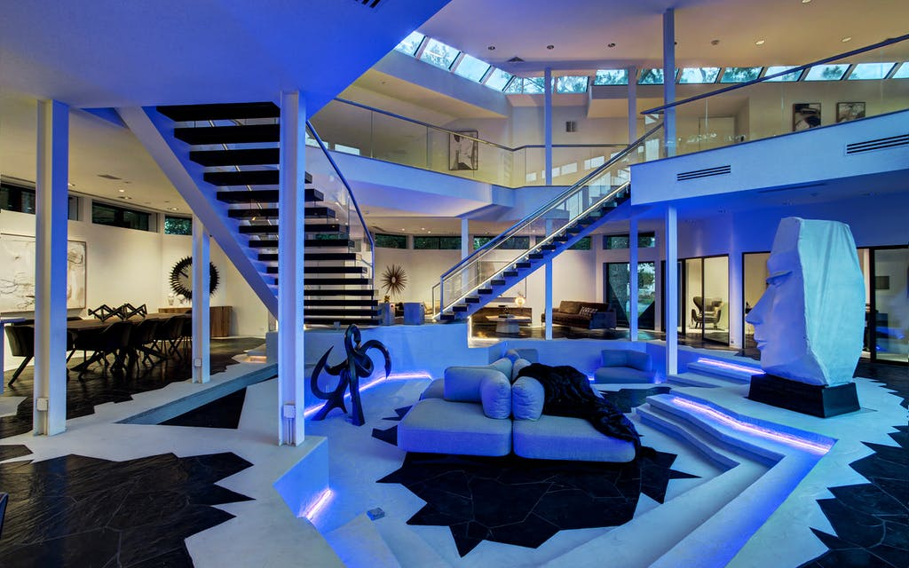 """Living room in Houston's """"Darth Vader"""" house."""