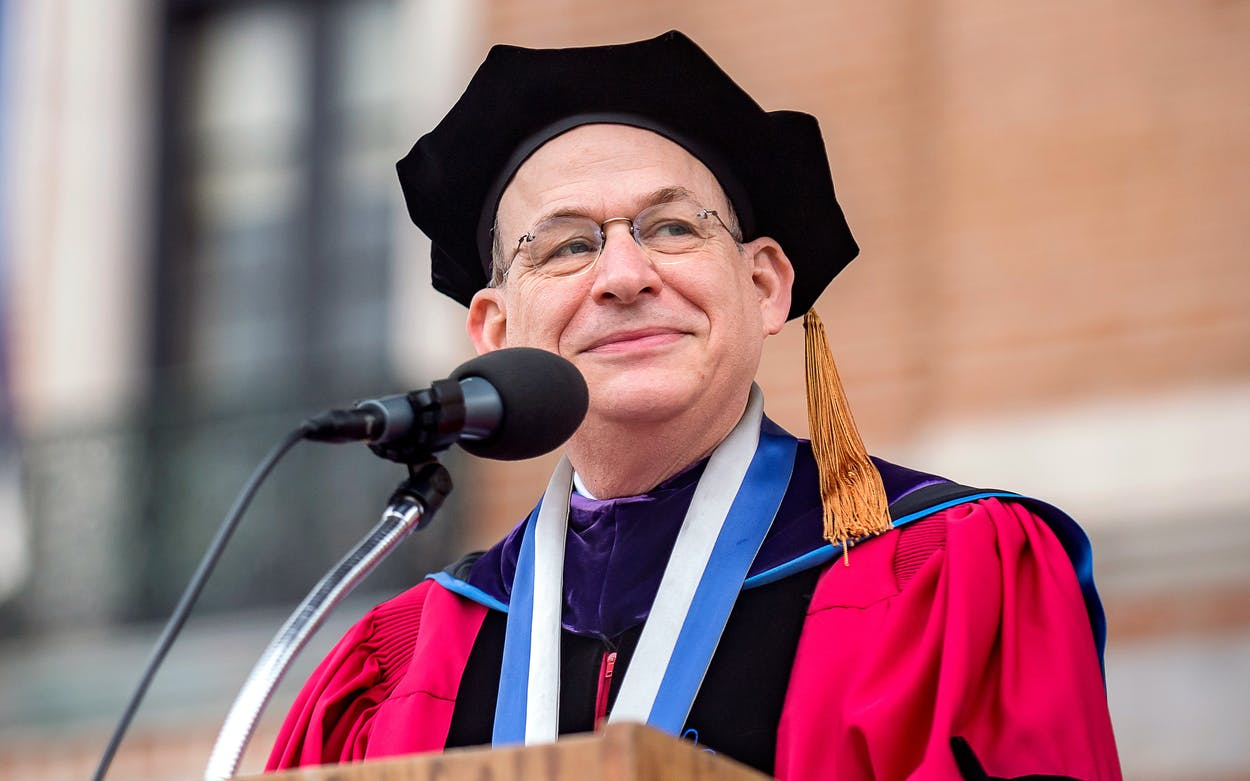 David Leebron at a commencement ceremony at Rice University in May 2019.