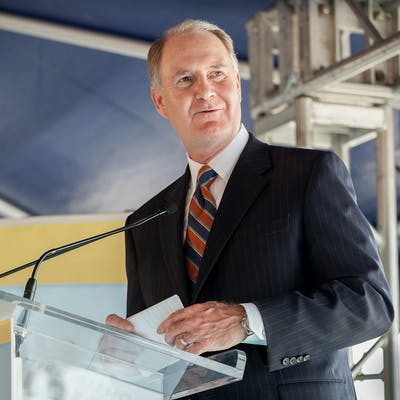 Southwest AIrlines CEO Gary Kelly talks to the media at the groundbreaking ceremony of Southwest's future international terminal at Houston Hobby Airport in 2013.