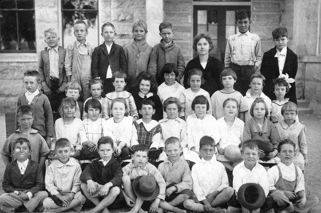 Holdsworth, with her class in Center Point, Texas.