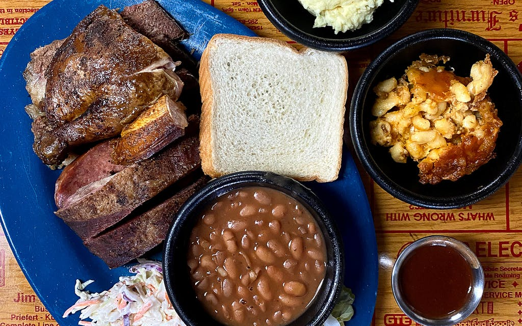 Spread of food at Holy Smoke BBQ