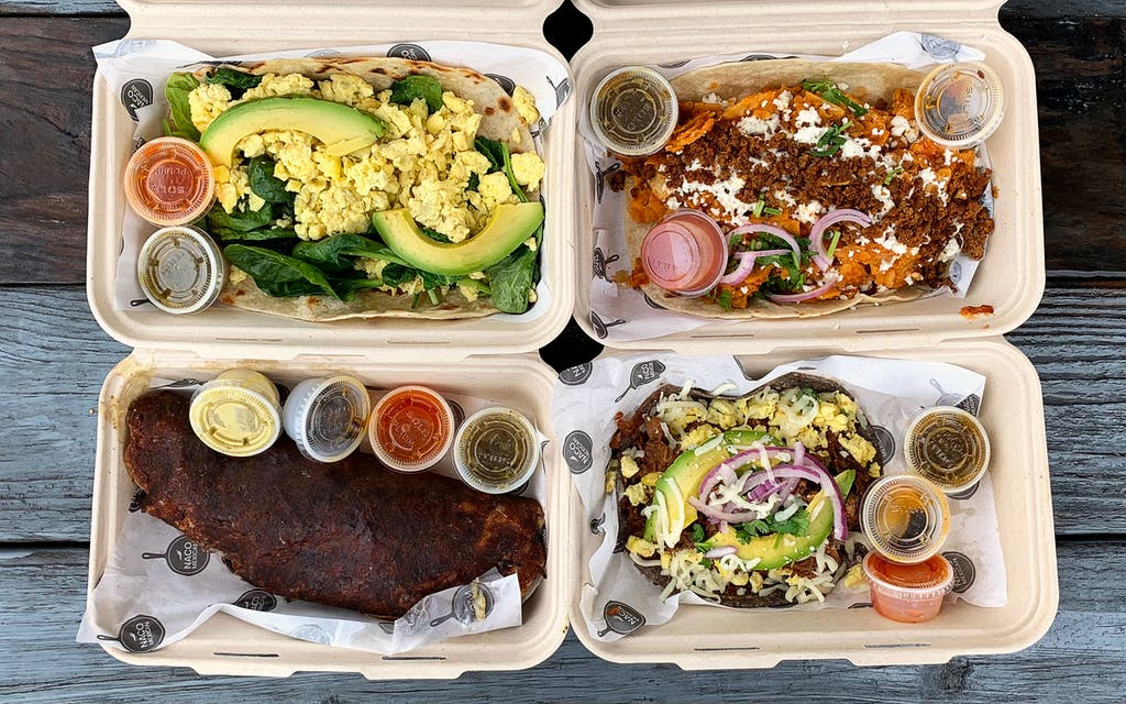 a selection of tacos and huitlacoche from Naco.