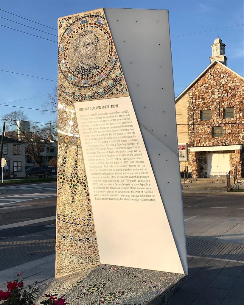 One of Adams' mosaic monuments at Emancipation Park.