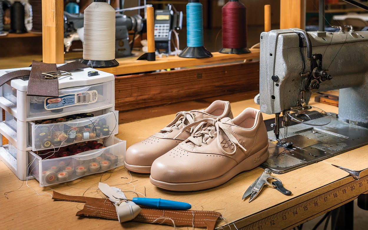 A newly assembled pair of the Free Time walking shoe, in mocha, at the SAS factory in San Antonio on June 2, 2021.