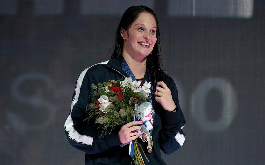 Adams participates in the medal ceremony for the Women's 200 Meter Butterfly on June 30, 2016 in Omaha, Nebraska.