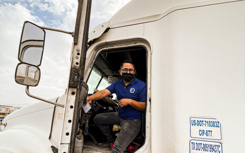 Commercial trucker and Juarez resident Martin Figueroa takes advantage of El Paso's push to vaccinate long haul truckers at the Ysleta–Zaragoza International Bridge.