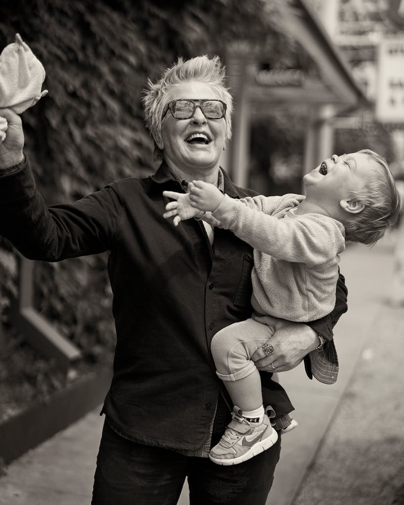 Lambert with her son Lyndon in Austin.