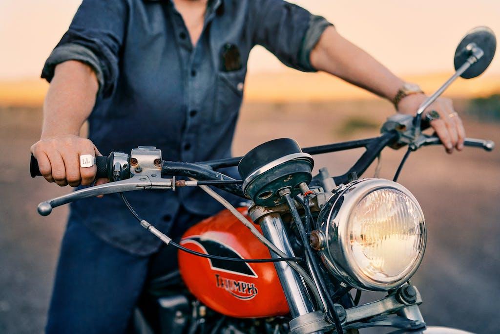 Lambert on her motorcycle.