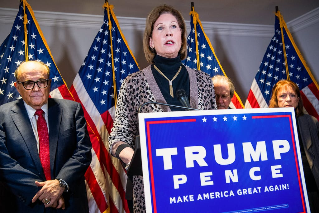 Sydney Powell, attorney for President Donald Trump, conducts a news conference at the Republican National Committee on lawsuits regarding the outcome of the 2020 presidential election on November 19, 2020 in Washington, D.C.