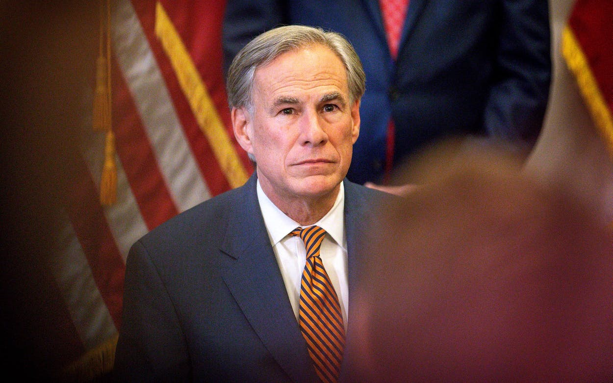 Governor Greg Abbott during a press conference at the Capitol in Austin on June 8, 2021.