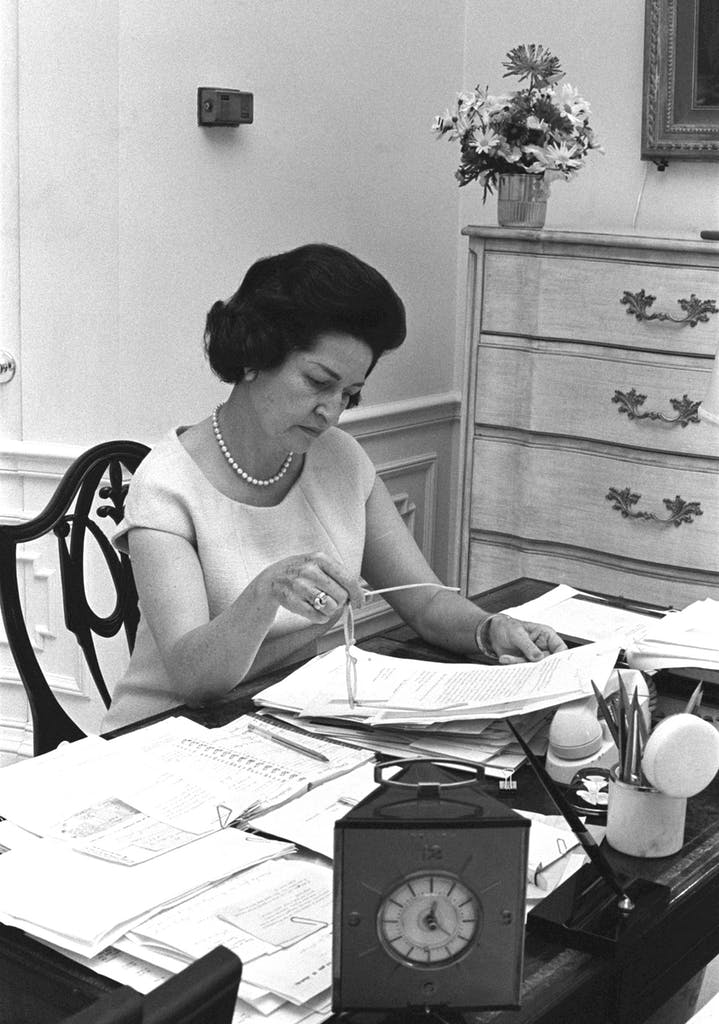 Lady Bird Johnson in white house office