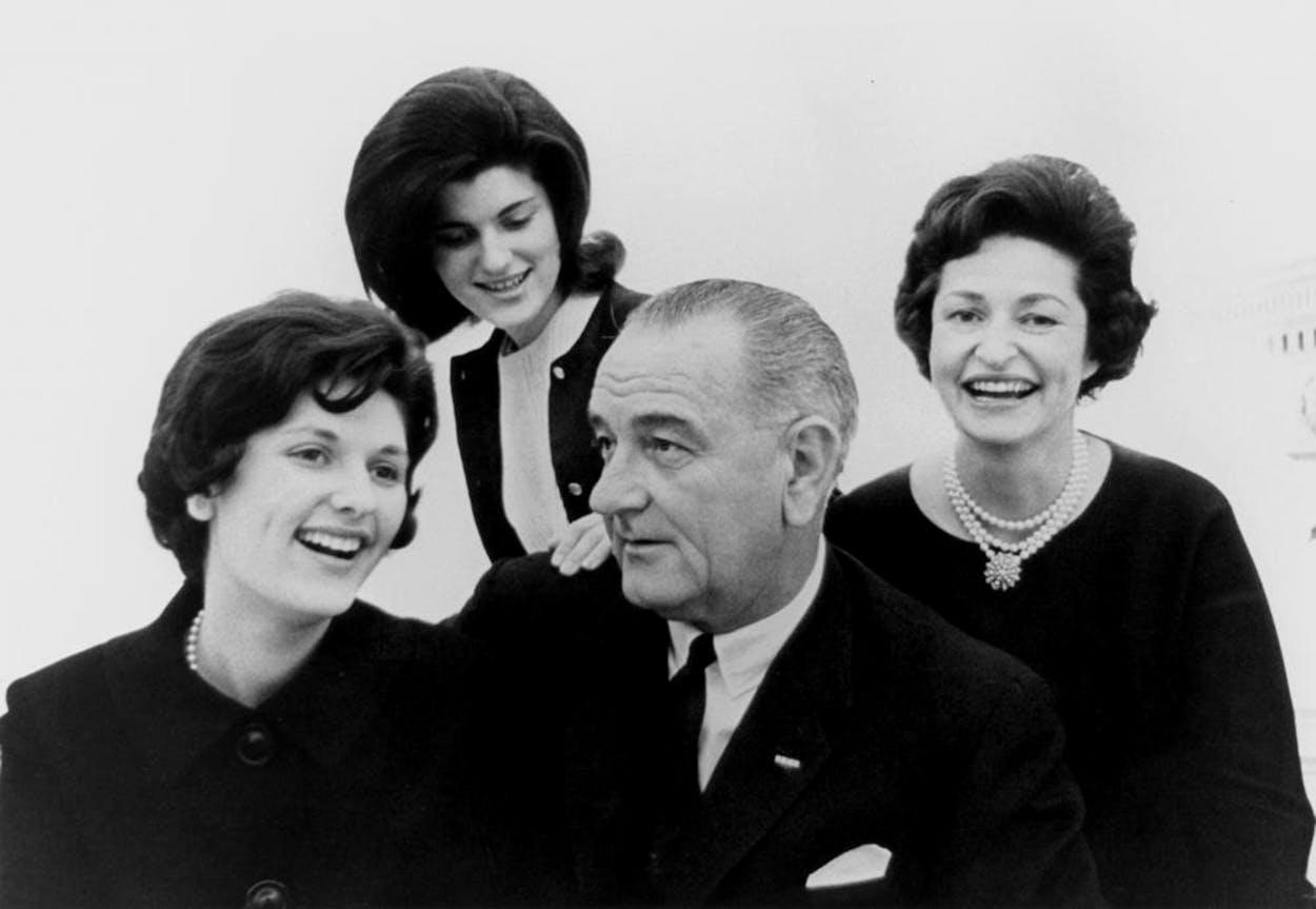 Family portrait with Lynda Bird Johnson, Luci Baines Johnson, November 30, 1963.