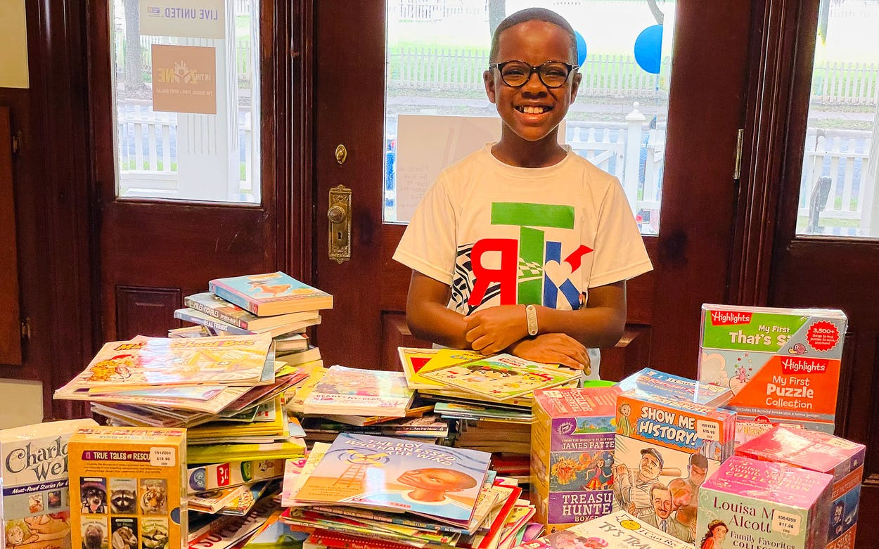 Orion Jean at the Race to 500,000 Books drop-off event with Reading Partners in Dallas on June 26, 2021.