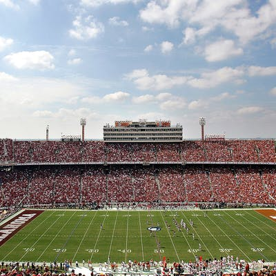 A Red River Showdown game between the Oklahoma Sooners and the Texas Longhorns at the Cotton Bowl in Dallas.