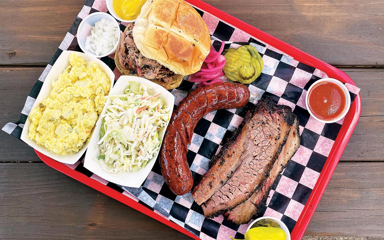 A tray of barbecue at Tom & Bingo's Hickory Pit Bar-B-Q in Lubbock.