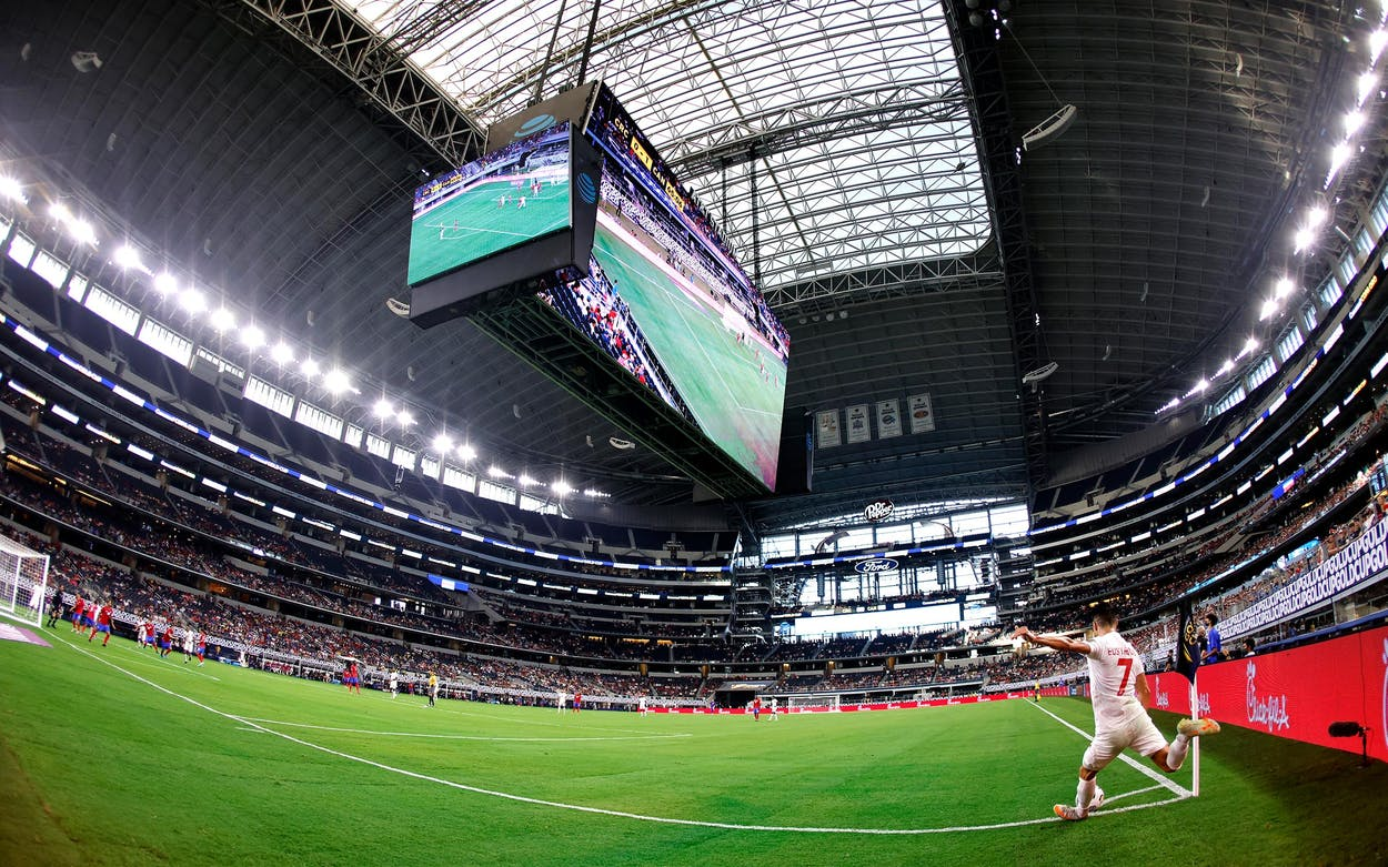 Stephen Eustaquio, #7 of Canada, makes a corner kick against Costa Rica during a 2021 CONCACAF Gold Cup Quarterfinals match at AT&T Stadium on July 25, 2021 in Arlington.