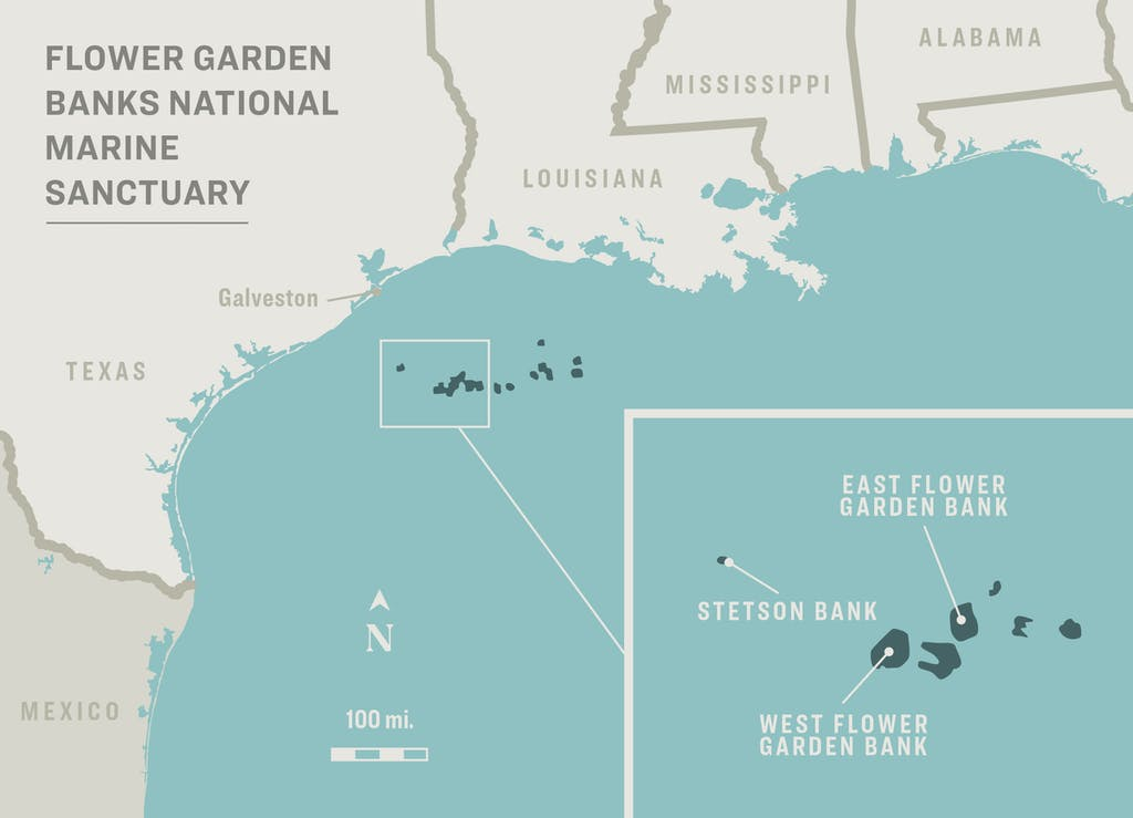 Location of the Flower Garden Banks National Marine Sanctuary, map