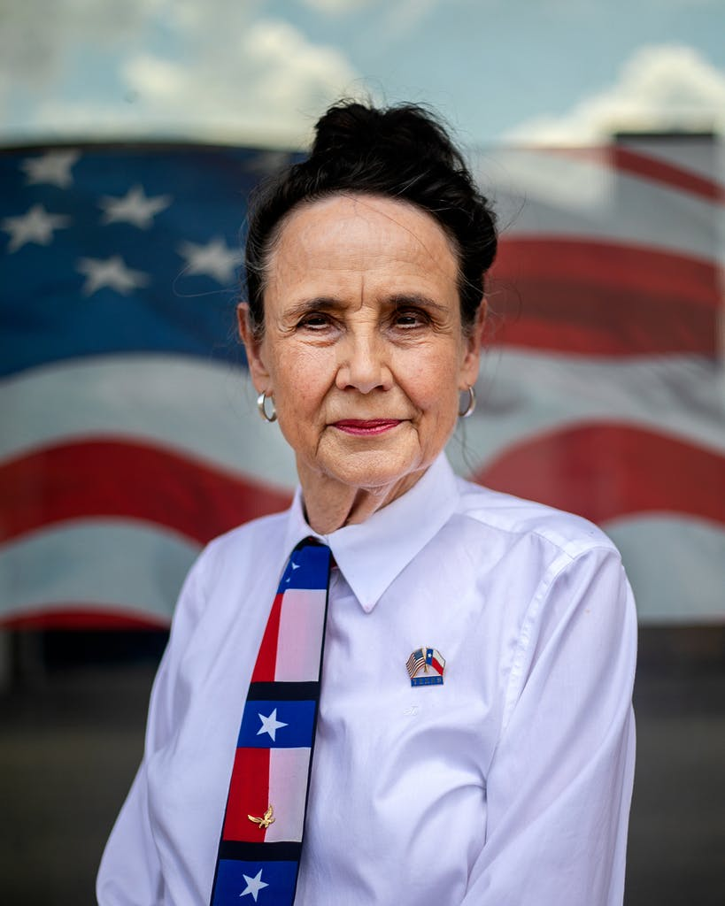Nancy Boston outside of the headquarters of the Republican Party of Bell County, which she chairs.