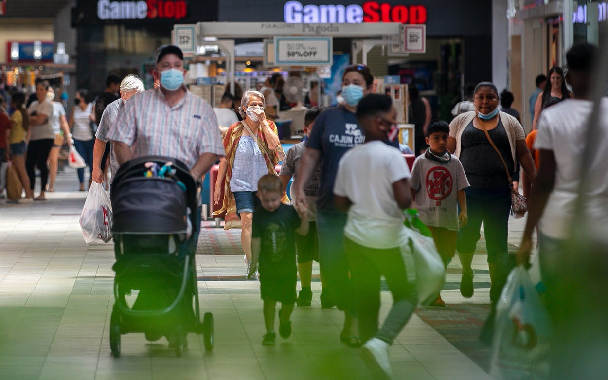 Patrons walk in Killeen Mall on July 31, 2021 in Killeen, Texas.