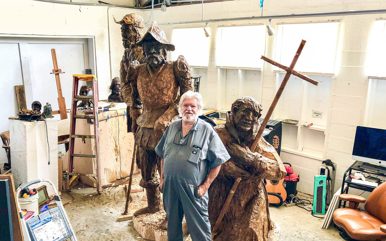 Artist Steve Russell poses inside his Rockport studio on July 7, 2021 alongside his latest project,