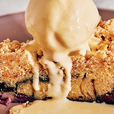 Blueberry coffee cake with sweet corn ice cream.