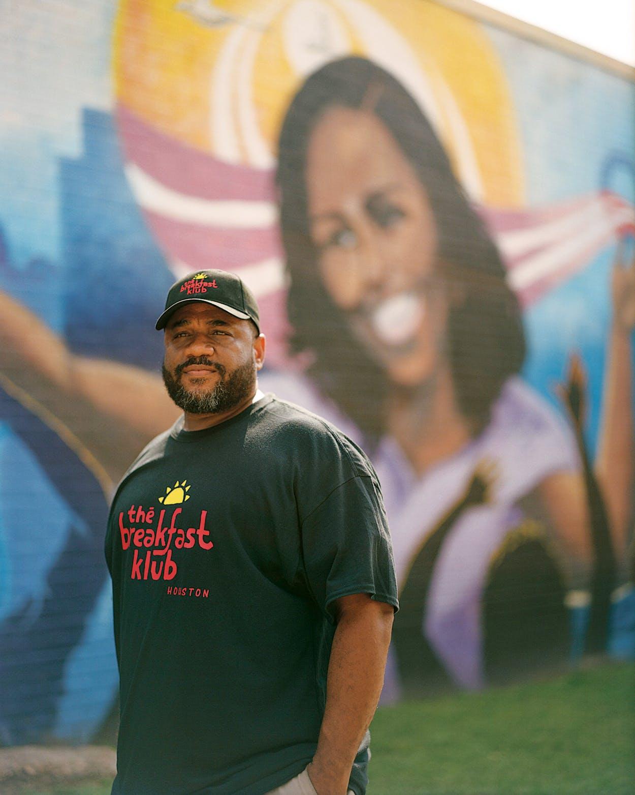 Marcus Davis outside of the Breakfast Klub in Houston on July 21, 2021.