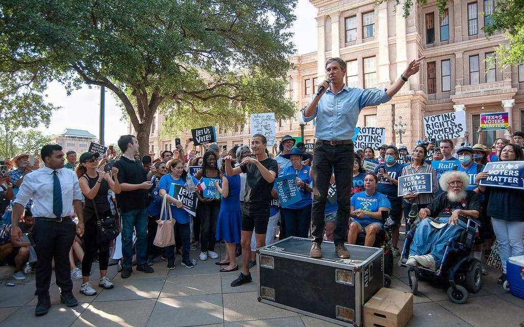 Beto O' Rourke speaking about voting rights at the For The People Rally at the State Capital in Austin on June 20, 2021.