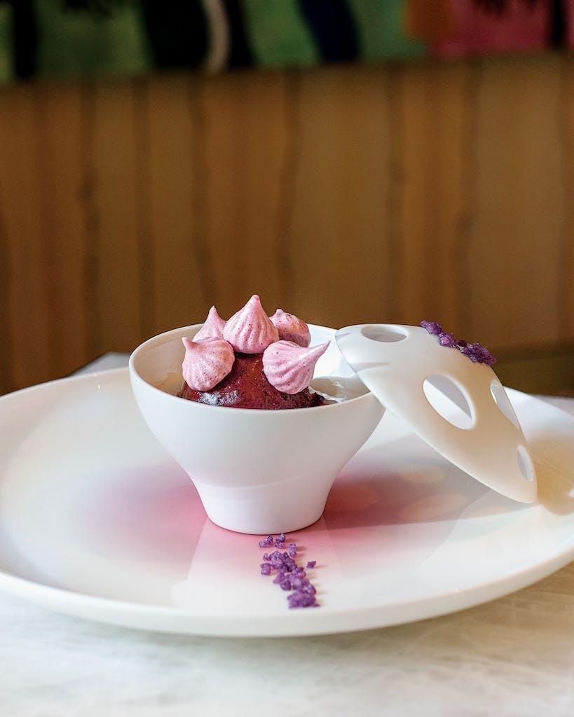 The blueberry dessert.