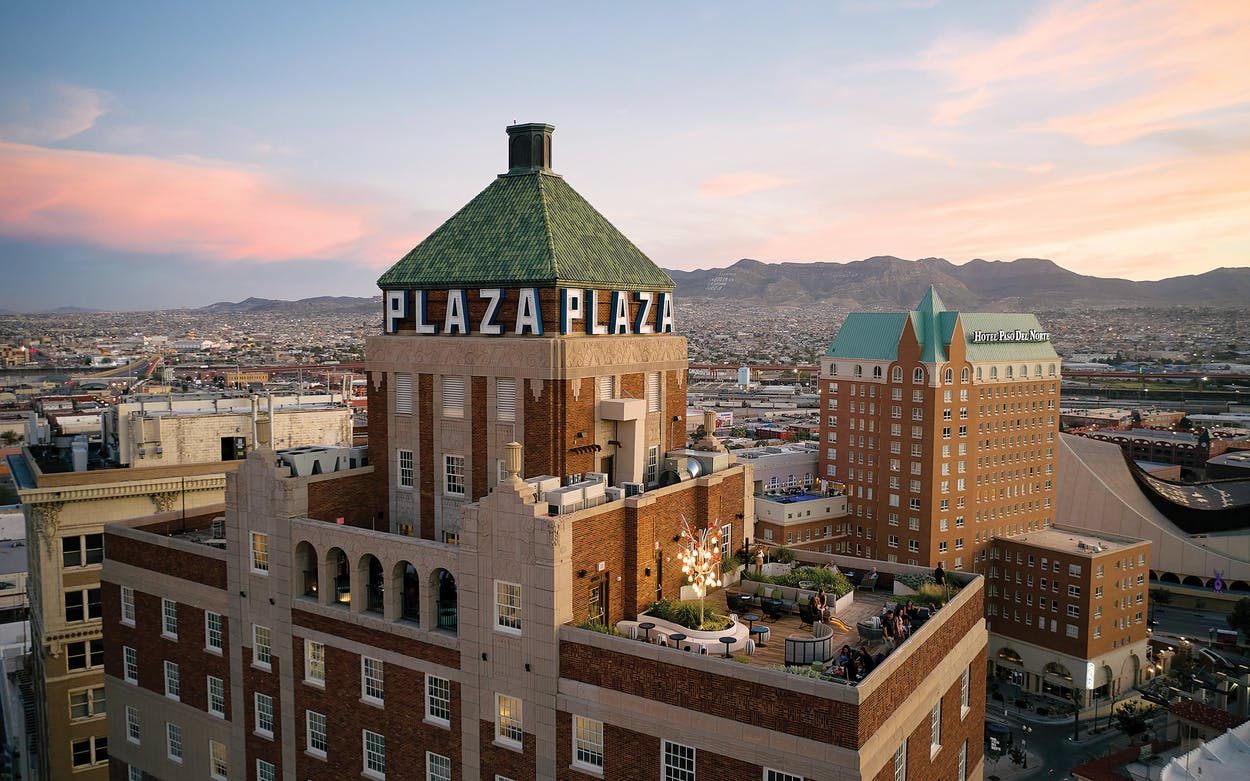 The Plaza Hotel Pioneer Park (left) and Hotel Paso del Norte, in downtown El Paso, on August20, 2021.
