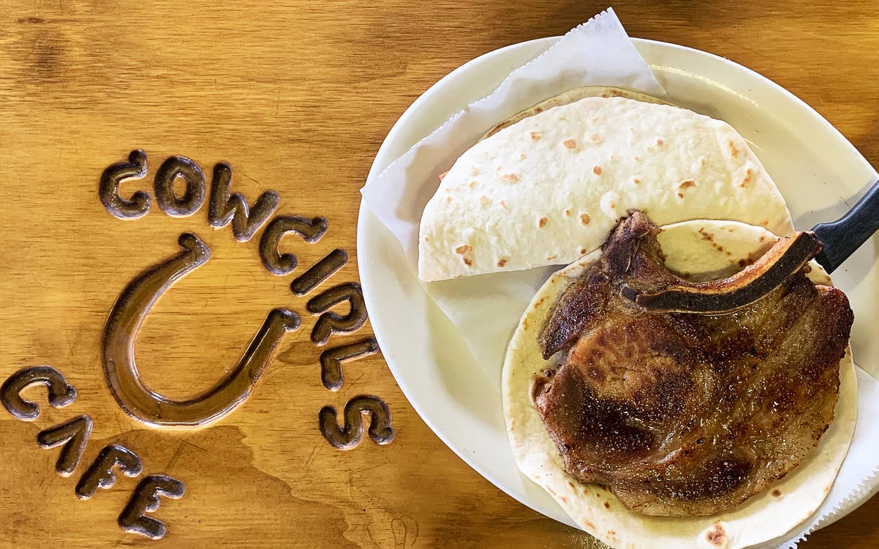 The pork chop taco at Cowgirls Cafe
