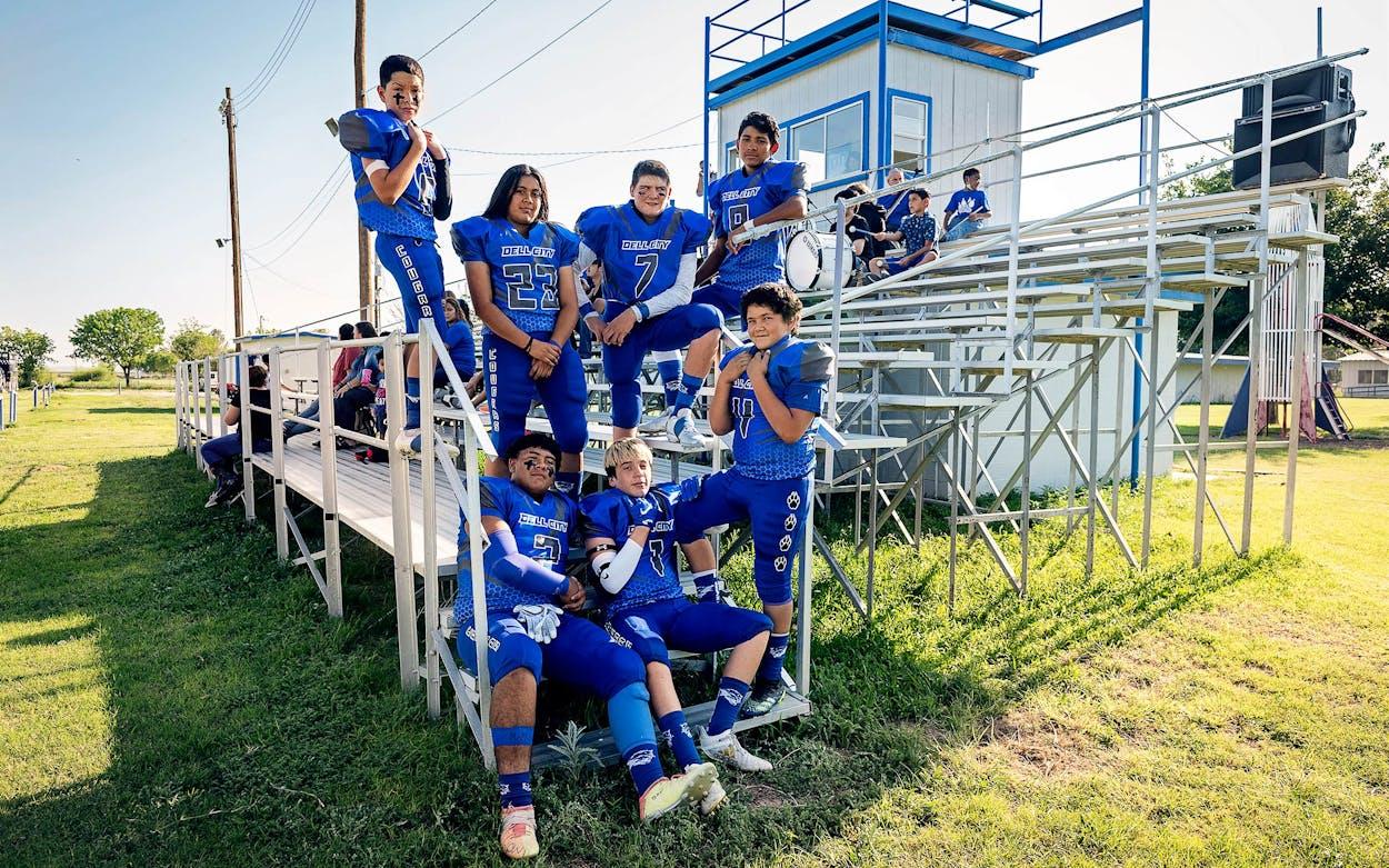 The Dell City School varsity football team in the bleachers at Cougar Field on September 10, 2021.