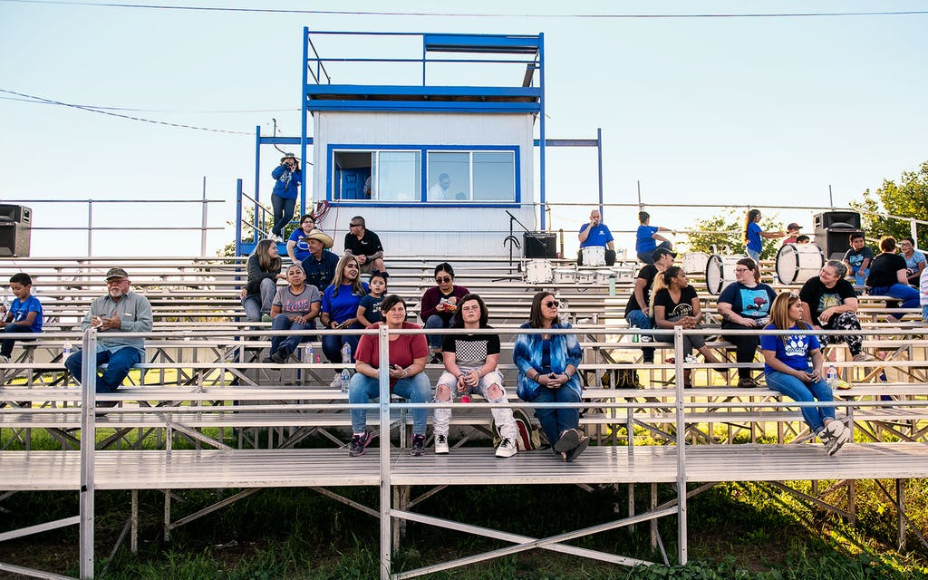 The home grandstand of the Dell City Cougars.