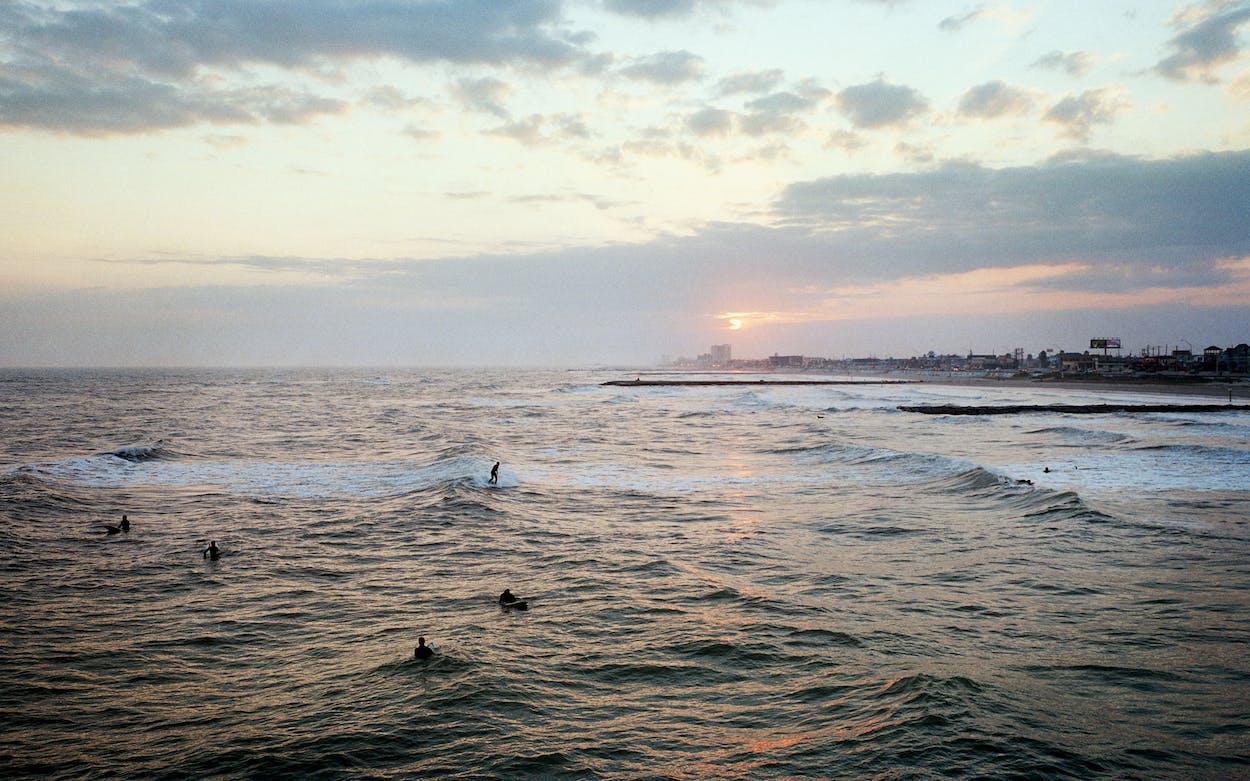 galveston surfers in winter