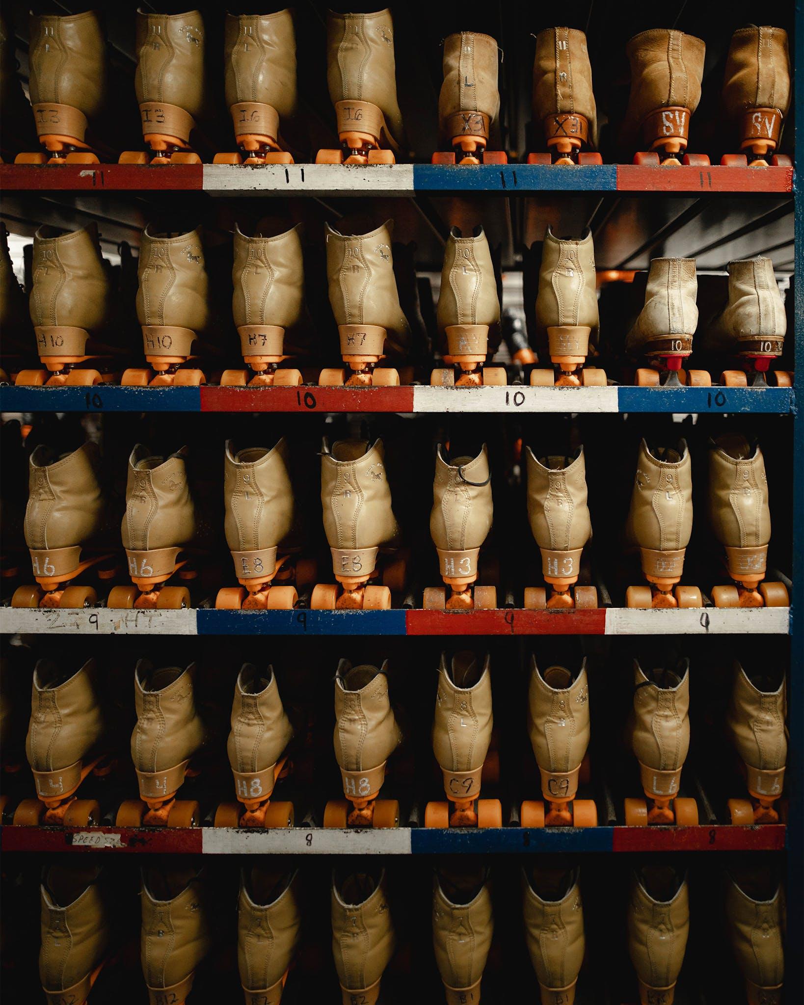 Shelves of skates behind the counter at Arlington Skatium, outside of Dallas.
