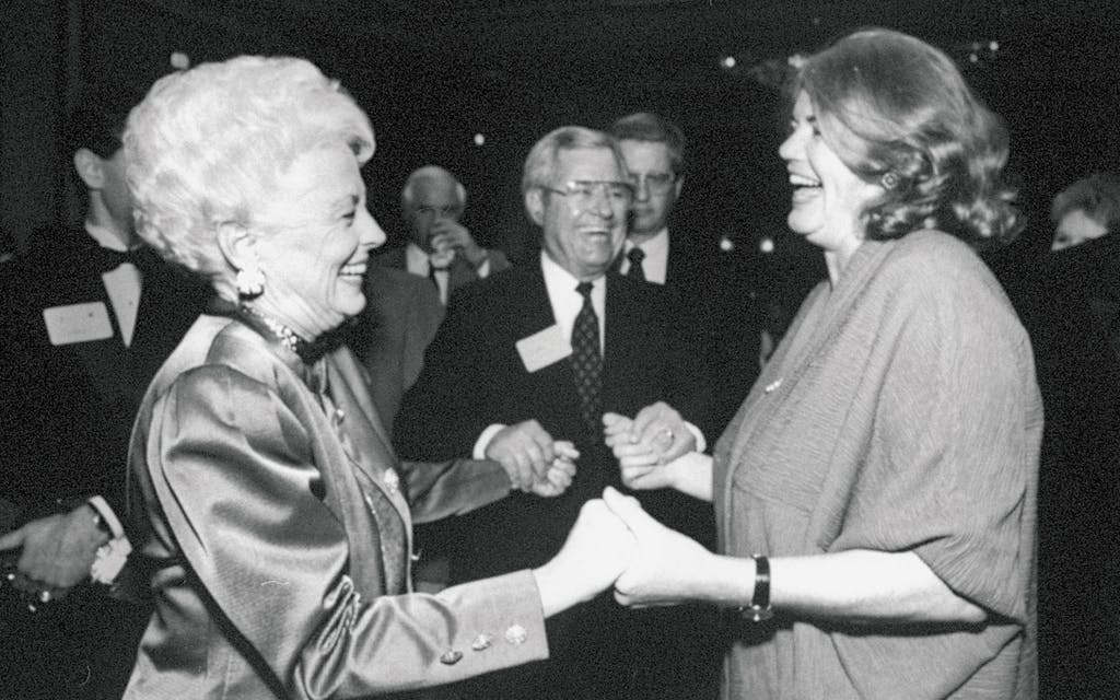 Ann Richards, left, and Molly Ivins in 1991, the year Richards became the governor of Texas. Looking on from the sidelines: men.