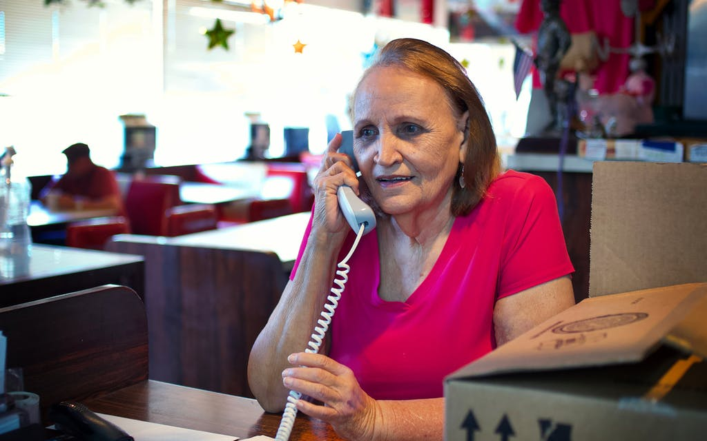 Mary Ann Hill on the phone
