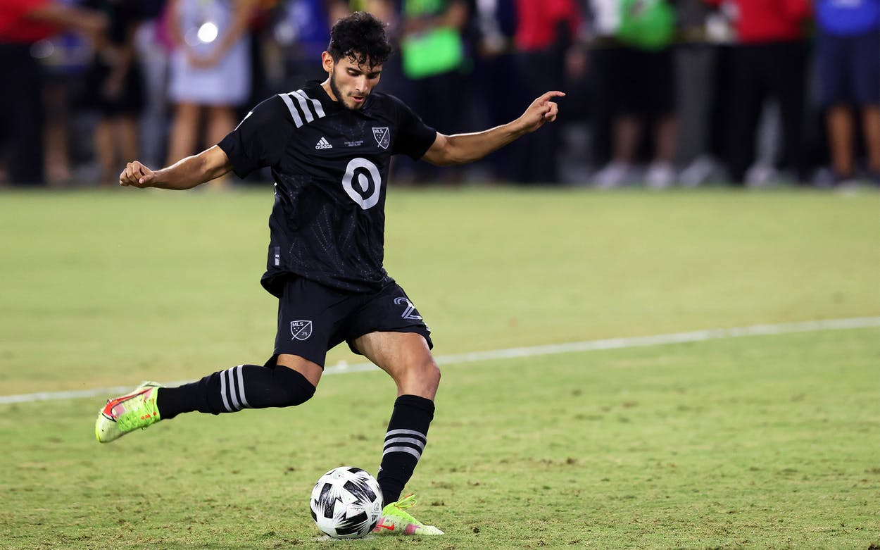 Ricardo Pepi #24 of the MLS All-Stars scores in the shootout win against the Liga MX All-Stars during the 2021 MLS All-Star game at Banc of California Stadium on August 25, 2021 in Los Angeles, California.